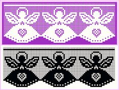 esquema+de+barrados+com+anjos. Filet Crochet Charts, Crochet Borders, Crochet Motif, Crochet Doilies, Crochet Lace, Crochet Patterns, Stitch And Angel, Cross Stitch Angels, Crochet Curtains