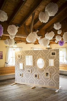 Picture Wedding decoration * PICTURE WALL * for guest photos / room divider / VINTAGE Hochz . - Pictures on Wall ideas Diy Photo Booth, Wedding Photo Booth, Wedding Photos, Wedding Ideias, Diy Wedding, Rustic Wedding, Wedding Decorations Pictures, Photo Room, Festa Party