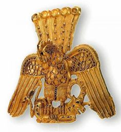 Gold egret in the form a griffin holding in the claws a mountain goat - decoration of a nobleman warrior headdress found between river Irtysh and Ob