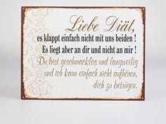 """Wandbild """"Liebe Diät.."""" aus Metall im Vintagelook zur Dekoration des Wohnraumes"""