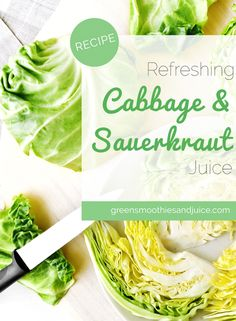 This nutritious green juice is refreshing and invigorating! The addition of the sauerkraut makes it full of probiotics, which makes it great for your digestion.   #greenjuice