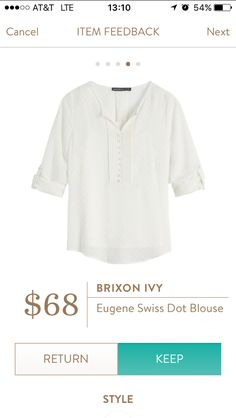 Stitch Fix Brixon Ivy Eugene Swiss Dot Blouse https://www.stitchfix.com/referral/8055861