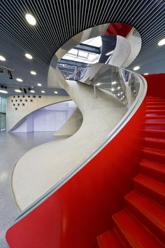 Red feature staircase at the University of Music and Performing Arts. Graz, Austria.
