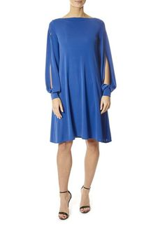 This is the 'Area' Split Sleeve Blue Dress by our friends at XD Xenia Design! Bring blue into your wardrobe with this dress from XD. Xenia Design, Wrap Over Dress, 40s Dress, Floor Length Dresses, Asymmetrical Dress, Flare Dress, Fit And Flare, Blue Dresses, Clothes For Women