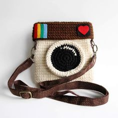 "Adorable Instagram Purse ! Adapt this into a camera bag with a lens holder on the front where the purse ""lens"" is."