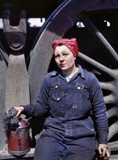 Worker in denim overalls, 1943