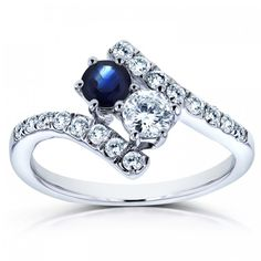 Annello by Kobelli Two Collection White Gold TCW Sapphire and Diamond Curved Ring (Size Women's, Blue Big Diamond Wedding Rings, Gemstone Engagement Rings, Ring Stores, Rings Cool, Bridal Jewelry Sets, Stone Jewelry, Diamond Jewelry, Beautiful Rings, Fashion Rings