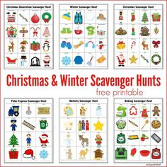 Winter & Christmas Scavenger Hunts {Free Printables} - The Resourceful Mama Teen Scavenger Hunt, Christmas Scavenger Hunt, Scavenger Hunt Birthday, Christmas Activities For Kids, Free Christmas Printables, Free Printables, Xmas Games, Abc Games, Christmas Games