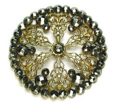 Antique Pierced Brass Button Filigree Flower w Many Cut Steel Accents