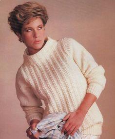 Knitting Patterns  Ladies Aran Sweater  sizes 28 to by carolrosa