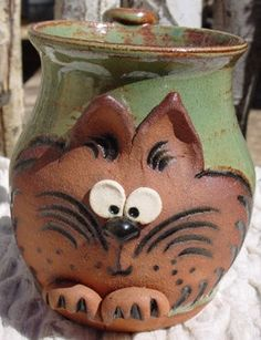 Handmade pottery cat coffee mug.