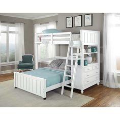 NE Kids Lake House White Twin / Full Loft Bunk Bed (Twin Loft W/ Full Lower BED White)