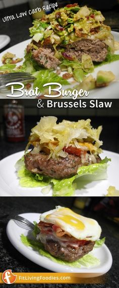 Bratwurst Burger topped with a Brussels Sprouts slaw. Try it out with a variety of toppings including Sriracha mustard Ultra Low Carb Recipes, Brussel Sprout Slaw, Carb Nite, Low Carb Meats, Sandwiches, Bratwurst, Keto, Paleo, Food Truck
