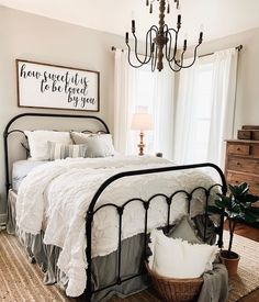 Above the bed wood sign.-Above the bed wood sign. decor joanna gaines How Sweet It Is Farmhouse Style Bedrooms, Farmhouse Master Bedroom, Modern Farmhouse Decor, Modern Farmhouse Kitchens, Farmhouse Ideas, Country Modern Decor, Country Bedroom Design, French Country Bedrooms, Country Farmhouse