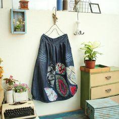 Japan Fashion Ethnic Applique Elastic Waist Denim Skirt Floral Skirt #skirt #fashion #applique #amazing #denim #maxiskirt #woman #winter