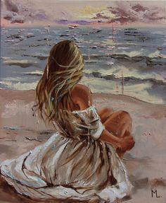 Monika Luniak - Paintings for Sale Art Drawings Beautiful, Beautiful Paintings, Art Drawings Sketches, Figure Painting, Dress Painting, Beach Art, Portrait Art, Lovers Art, Female Art