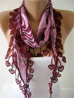 Elegant  Cotton Scarf with Trim Edge- -Gift Scarf via Etsy