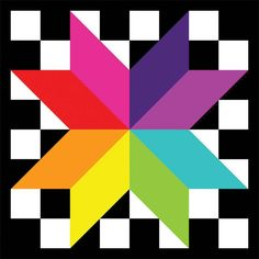 Sherry Rose - Grand Prizewinner of the Quilt Block Design Contest Barn Quilt Designs, Barn Quilt Patterns, Quilting Designs, Purple Quilts, Colorful Quilts, Quilting Blogs, Quilting Projects, Rainbow Quilt, Rainbow Star