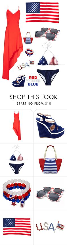 """""""Red White and Blue"""" by kotnourka ❤ liked on Polyvore featuring Alice + Olivia, Miu Miu and Evergreen"""