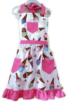 Ice Cream Apron, Retro Style Apron, Cooking Apron, Children Apron, Little Girl Apron,  Toddler Apron,  Girl Apron, Baking Apron, Kid Apron