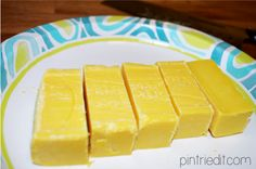 Microwave instead of grating the soap for laundry detergent. About 1 min 45 seconds, then crumble to a fine powder.(easier if you crumble it in a ziplock bag)