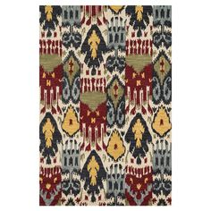 Showcasing an ikat motif, this hand-hooked wool rug effortlessly anchors your dining table or living room seating group.