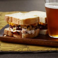 Next-Day Turkey Sandwiches | Barbara Lynch of No. 9 Park in Boston piles most of the components of the traditional Thanksgiving meal between two slices of bread. You can use any squash puree; if you only have roasted squash or sweet potatoes, just mash them up.