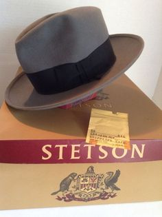 c77db7061ff Vintage STETSON Hat Fedora. Gray Caribou Whippet with Box and Tags.  1940s 50s