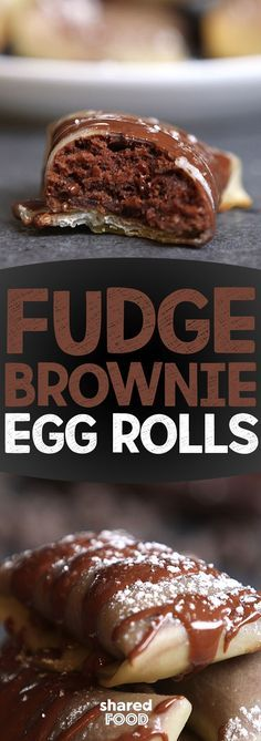 Who would've thought brownies in an egg roll!? ME! That's who! Simple boxed brownie mix but instead of pouring it into a pan you wrap them all up in egg roll wrappers! I baked them but they could easily be deep fried for an added indulgence!