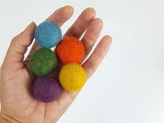Natural Wool Cat Toys - Earthy Rainbow - 5x 3cm Wool Felt Balls - No Rattle Cat Ball Toys - Small Dog Toy -  Eco Pet Stocking Stuffer