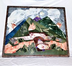 Mosaic from various stones in a frame from by ArtOfSIberia on Etsy