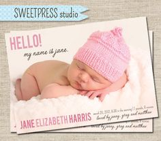 Baby Girl Announcement Cards Layout Products 40 Ideas For 2019 Baby Girl Birth Announcement, Baby Announcement Cards, Birth Announcements, New Baby Girls, My Baby Girl, Baby Baby, Baby Mine, Trendy Baby, New Baby Products
