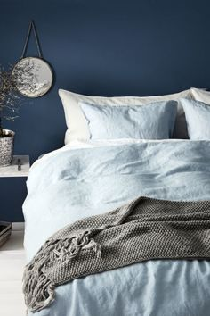 Double duvet cover set in a washed linen weave with double-stitched edges. The duvet cover fastens at the bottom with concealed metal press-studs. Light Blue Bedding, Blue Comforter, Duvet Bedding, King Comforter, Comforter Sets, Queen Bedding Sets, Luxury Bedding Sets, Modern Bedding, Washed Linen Duvet Cover