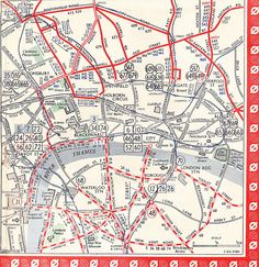 Central area section of a 1950 London transport Trolleybus and Tram map.
