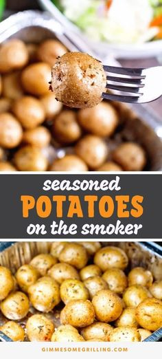 Perfectly Seasoned Potatoes on your smoker! Toss together these creamer potatoes with a few seasoning and then smoke them on your Traeger Pellet Grill for a delicious and easy side dish recipe. Seasoned Potatoes on Smoker - Gimme Smoker Grill Recipes, Smoker Cooking, Grilling Recipes, Grilling Tips, Bbq Grill, Sides For Grilling, Electric Smoker Recipes, Grilling Art, Best Grill Recipes