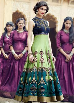 Exotic Honeydew and Teal Green Anarkali Suit