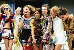 Elena Perminova, Michelle Harper, Natalie Joos, Miroslava Duma, Anya Ziourova, Anne Dello Russo and Giovanna Battaglia at New York Fashion Week.