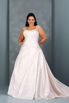 Shop Plus Size Wedding Dresses A Line Sweetheart Court Train Taffeta Lace Up PPZE4613 Online