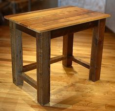 make as end tables Old Barn Wood, Reclaimed Barn Wood, Rustic Pub Table, Bench Furniture, Furniture Ideas, Furniture Design, Plumbing Pipe Furniture, Barn Wood Projects, Pallet House