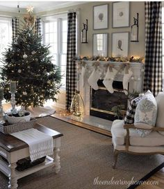 Contemporary and smart Christmas living room.