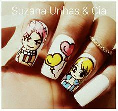 Unhas Natsu e Lucy de Fairy Tail. #nalu #unhas #nails #nailart