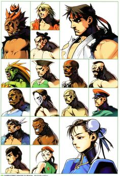 """fightinggamer: """"The characters portrait pics from the Super Street Fighter II Turbo Revival game (GBA) """" Sprites, Capcom Street Fighter, Jet Set Radio, Super Turbo, Street Fighter Characters, World Of Warriors, Super Street Fighter, King Of Fighters, Marvel Vs"""