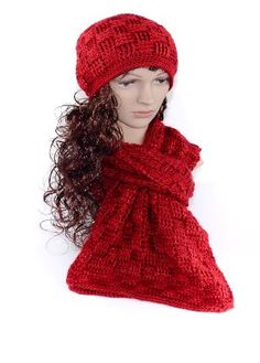 Designer Crochet Scarf and Hat Set in red. Crochet Cowls, Crochet Scarves, Hand Crochet, Crochet Patterns, Scarf Knots, Scarf Hat, Silly Hats, City Fashion, Ribbon Embroidery