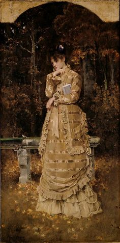 """Fall"", 1878, by Alfred Stevens (Belgian, 1823-1906)."