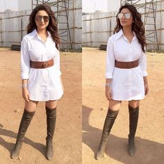 Dusty, earthy! ✨👢My lady put me in some over the knee boots yesterday  for my hosting duties. 💋💋@sanjanabatra #Coldplay #GlobalCitizen. Also, thanks for the shirt dress @demebygabriella, belt @bershkacollection, boots @luluandskyofficial. HMU @shraddha.naik @gohar__shaikh