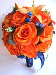 3 x Coral Orange Orchid Flower Hair Pins Bridesmaid Floral Rose Wedding Set 6000