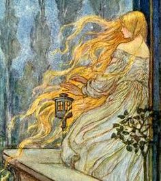 Florence Susan Harrison (English Art Nouveau and Pre-Raphaelite illustrator) 1877 - 1955 Illustration to the poem 'Rapunzel' from: Early Poems of William Morris. Art And Illustration, Fairy Tale Illustrations, Botanical Illustration, Fantasy Kunst, Fantasy Art, Illustrator, Classic Fairy Tales, Fairytale Art, Inspiration Art