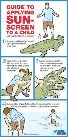 Kind eincremen - sunproofing a child is like wrestling an alligator. Sonnenschutz