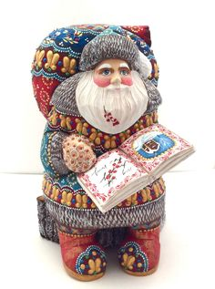 Russian SANTA with a Book Wooden Hand Carved Hand Painted Signed by the Artist