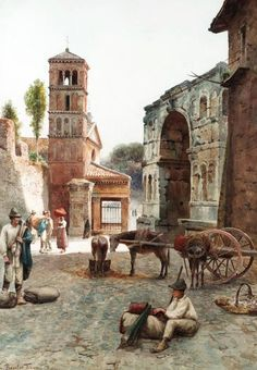 Ettore Roesler Franz  Arco di Giano e San Girogio in Velabro, Roma, s.d. watercolour, 75.5 x 53 cm  Grazie a Christa Zaat